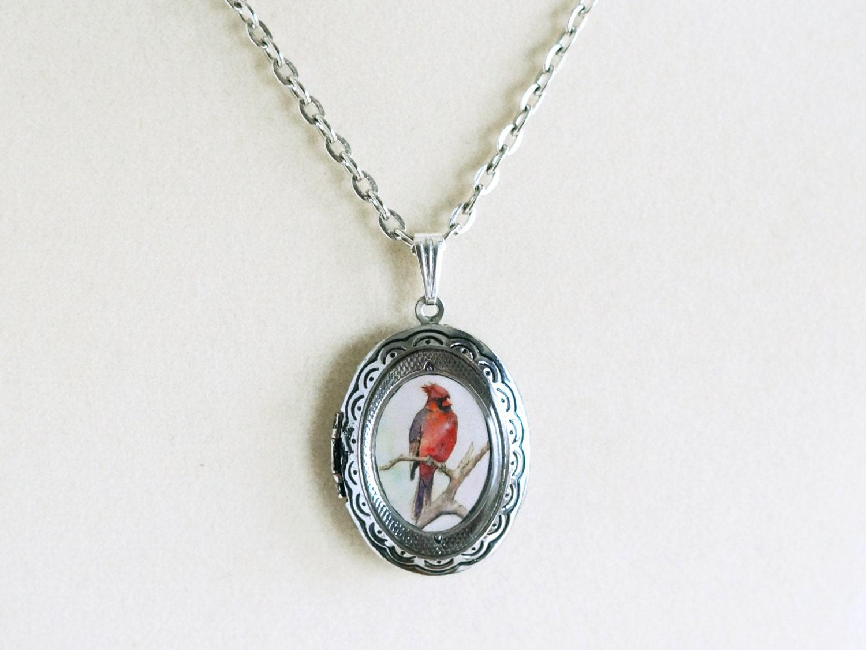 cardinal bird locket jewelry wearable necklace