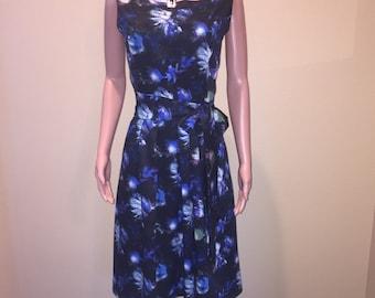 Beautiful Blue on Black Career Dress