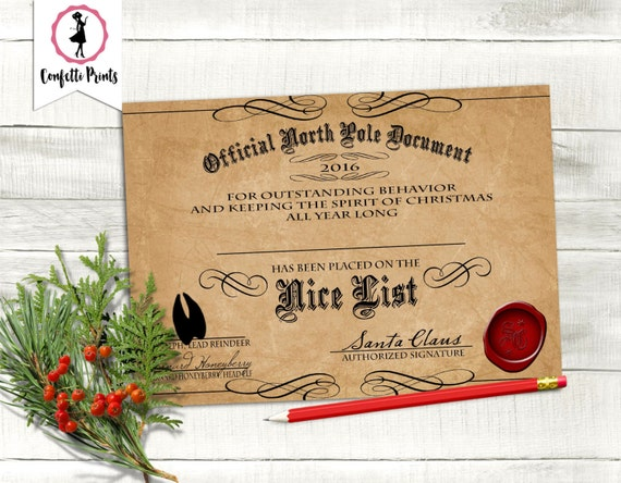 NICE LIST CERTIFICATE   Santa Certificate   Letter From Santa   Elf Report   Editable   Personalized   Printable   Instant Download
