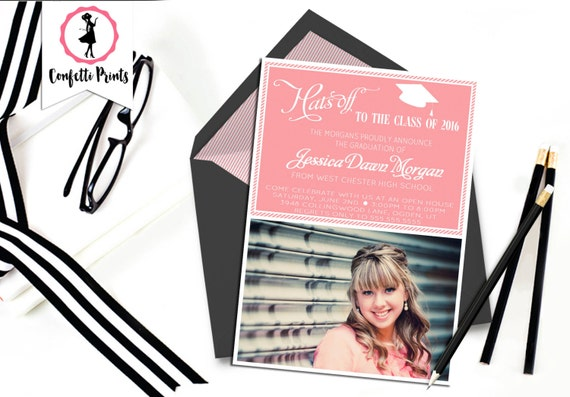 Graduation Announcement | Graduation Invitation | Senior Graduation | Graduation Party Invitation | Open House - HATS OFF Printable