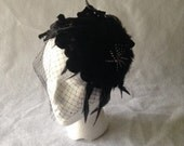 Gatsby Inspired Black Flower Headpiece,Black Birdcage Veil,Black Feather Fascinator,Black Wedding Fascinator,Mother Of The Bride, Short hair