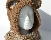 Crochet winter bear hood in cafe / brown - Childs hooded cowl - Childs winter accessory - Unisex hat - 6-10 years old  - Gifts under 25