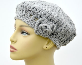 Handmade adult / teens beret - Womens hat in gray - Gift for her - Gift under 20 - Winter accessory