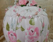 Elegant Hand painted Pumpkin - Pink with hp roses and leaves - Beautiful Hand made ribbon roses and leaves