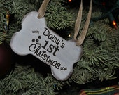 Personalized Pet Ornament, Laser Engraved, Handmade Bone Ornament, Pets 1st Christmas, Puppy Christmas Ornament.