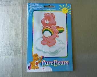 CARE BEARS Counted Cross Stitch Kit Cheer Bear Rainbow Hearts