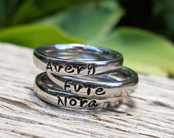 Hand Stamped Ring, Mother's Stacking Rings, Name Ring, Personalized Jewelry, Stackable Rings, Personalized Name Ring, 3mm Shiny Stacker Ring