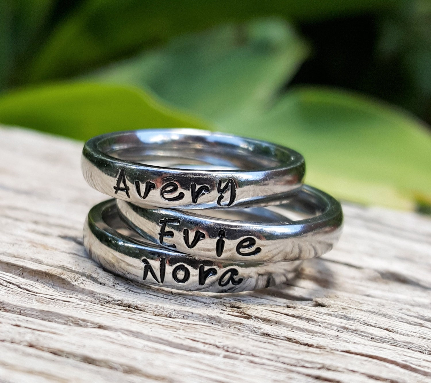 Thin Stacking Handstamped Name Rings Personalized Stainless