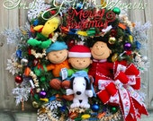 Deluxe Charlie Brown Peanuts Gang Merry Christmas Wreath  - Will NOT be Duplicated- READY To SHIP- PreLit, Lucy ,Snoopy, Linus, Woodstock