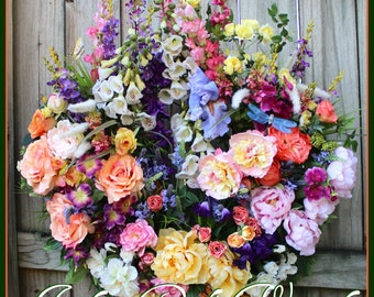 Luxury English Cottage Garden  Wreath, Foxglove, Rose, Larkspur, Peony, Camilla, Lavender, Large Summer peach coral pink purple yellow