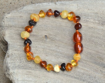 Baltic Amber Teething Bracelet - Anklet for Baby - Safety Knotted
