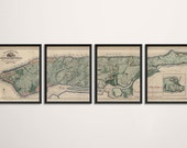 Old New York City Map Art Print 1865 Manhattan Antique Map Archival Reproduction - Set of 4 Prints