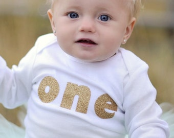 Baby Girl's First Birthday, Glitter Gold one -1st Birthday, first birthday, gold birthday, Birthday Girl Bodysuit or Shirt Only