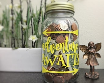 Adventure Fund - Adult Piggy Bank - Savings Jar - Money Box - Vacation Savings - Large Coin Bank - Mason Jar - Fun Gift - College Fund