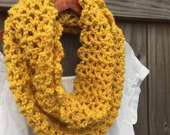 Mustard Knit Scarf - Mustard Infinity Scarf - Mustard Crochet Scarf - Yellow Knit Scarf - Mustard Cowl - Lightweight Scarf - Neckwarmer