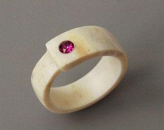 Antler ring, Size 6 US, Inlaid Swarovski crystal,  Elk antler ring, Purple ring, Fuchsia ring, Purple band ring, Women rings, Purple jewelry