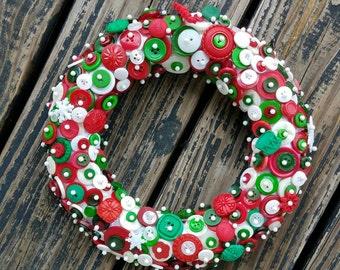 Button Wreath, Holiday Button Wreath, Christmas Button Wreath, Holiday Wreath, Christmas Wreath