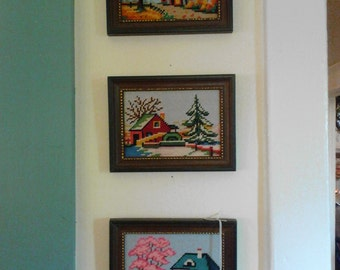 Vintage Needlepoint pictures set of 3 fall winter sprint