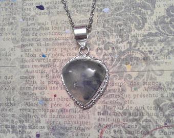 Natural Teardrop Mossy Prehnite Gemstone in Silver Scrolling Pendant on Necklace