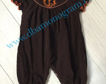 Monogram Smocked Brown Corduroy Bubble, Fall Smocked bubble
