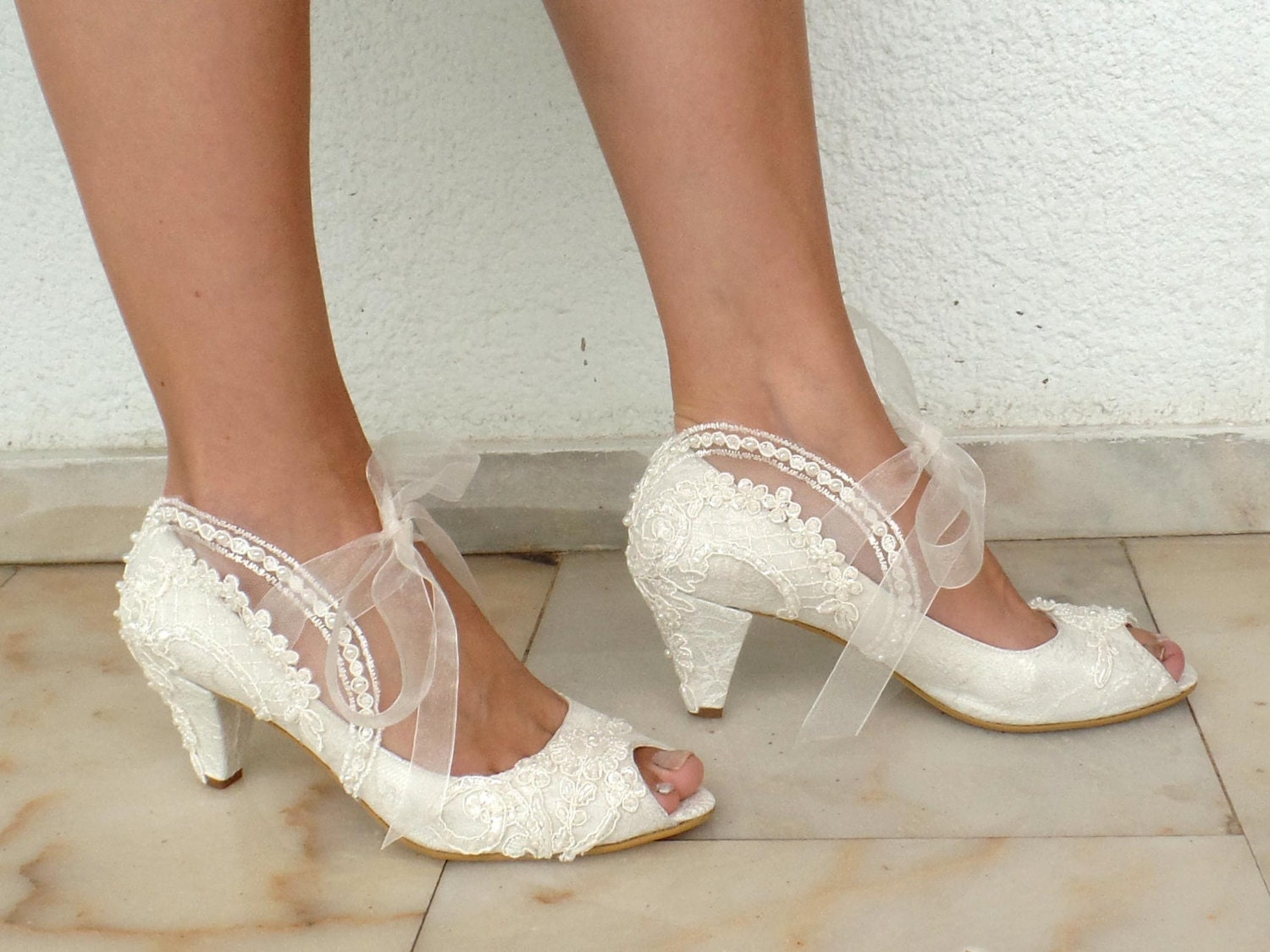 Wedding Shoes Bridal Shoes Embroidered Ivory Lace With
