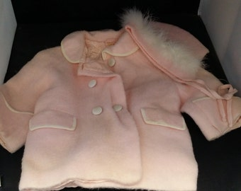 Vintage Toddler Girls Coat and Bonnet - Made in Italy