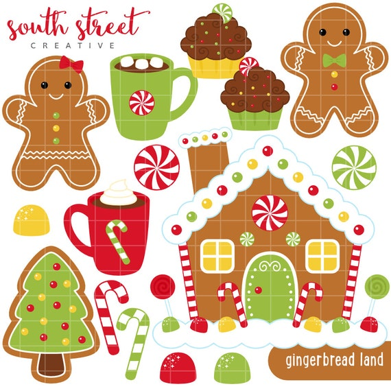 SALE! Gingerbread House, Candy Cane, Cocoa, Cute Clipart ...