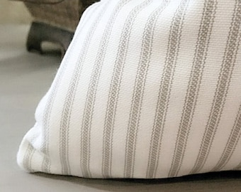 Ticking stripe pillow cover light grey and white, Pick Your Pillow Size, 12x20 12x24 16x16 18x18  20x20  22x22  24x24