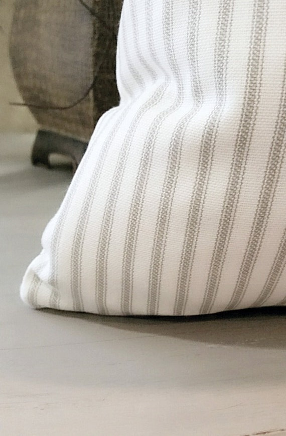 ticking stripe pillow cover grey and white pick your pillow. Black Bedroom Furniture Sets. Home Design Ideas