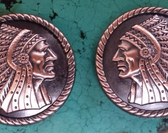 Pair of Screwback Antique Copper Indian Head Conchos