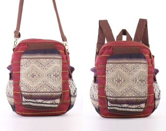 Leisure Backpack, Cross body bag, Utility Bag, Folk Needlework Woven Textiles Ecofriendly