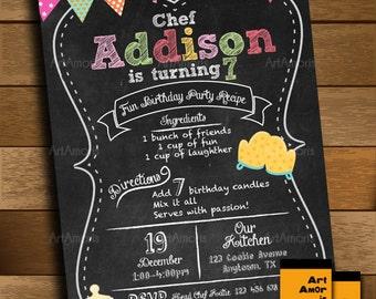 Baking Invitation, Birthday Invitation, Cooking Invitation, Little Chef Invitation, Chalkboard Recipe Bake Shop, Cookie Decorating R-15