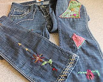 Upcycled Patched Antik Jeans Funky Music Festival Hippie Boho Denim Coachella Clothing