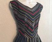 1950s Black Taffeta Multi-Color Stripe Rockabilly Dress by Lorch, Dallas