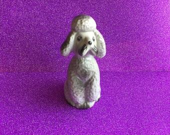 Vintage Gray Ceramic Poodle Figurine, Japan