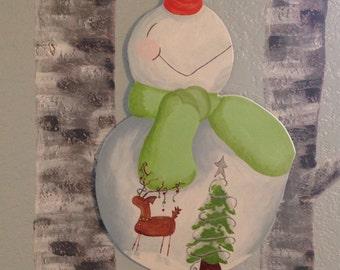 Holly Jolly snowman door hanger Christmas scene Reindeer snow Christmas trees Christmas decorations
