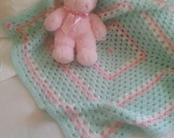 Mint/pink/white baby girl blanket