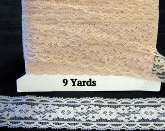 Chantilly Lace Trim Applique, peach vintage shabby chic lace, 9 yards