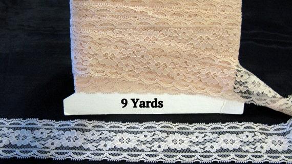 Shabby chic lace trim, peach lace ribbon, vintage 9 yards
