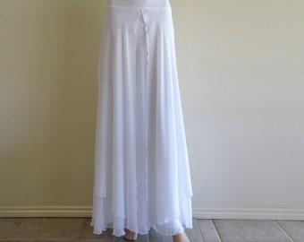 White Maxi Skirt. Long Bridesmaid Skirt. White Floor Length Skirt. Chiffon Evening Skirt.