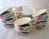 Stetson Pink Tulip with Gray Stripes Coffee Cups and Saucers 19 Piece Set Vintage 1950s