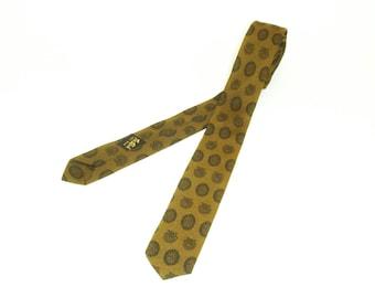 1950s-60s Silk Skinny Tie Mad Men Era Mid Century Black & Greenish Brown Narrow Mens Vintage Necktie by Tie Rack