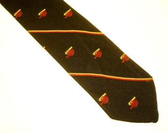 1960s Skinny Silk Tie Mad Men Era Dark Brown Mens Vintage Necktie with embroidered Cannon designs by The Regiment, Ltd. Colorado Springs, CO
