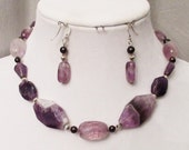 Amethyst Jewelry, Amethyst Chevron Necklace, Pearls, Amethyst Earring, February Birthstone, Handmade Amethyst Jewelry Set, Natural Gemstones