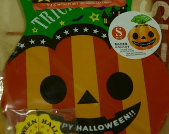 7pcs Happy Halloween Trick Or Treat Transparent Japanese Plastic Gift / Party Bag: Pumpkin Shape