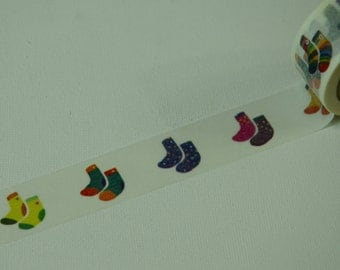 1 Roll of Limited Edition Washi Masking Tape- Colorful Socks