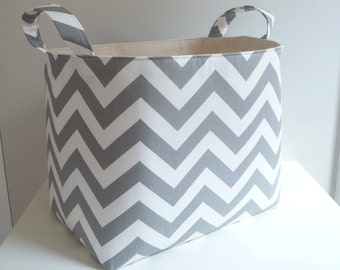 Large Storage Basket Fabric Organizer in Grey Chevron and Canvas Lining with Handles - Your choice of size