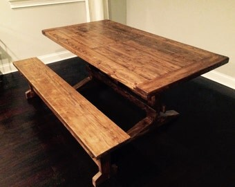 Trestle table with matching bench