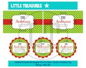 CHRISTMAS COLORS - EDITABLE Printable labels - Address Labels - cards - tags - stickers - party food table cards - Instant Download