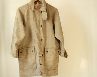TWIN PEAKS oxford denim long coat 90s jacket coat with PINSTRIPE blue & white lining